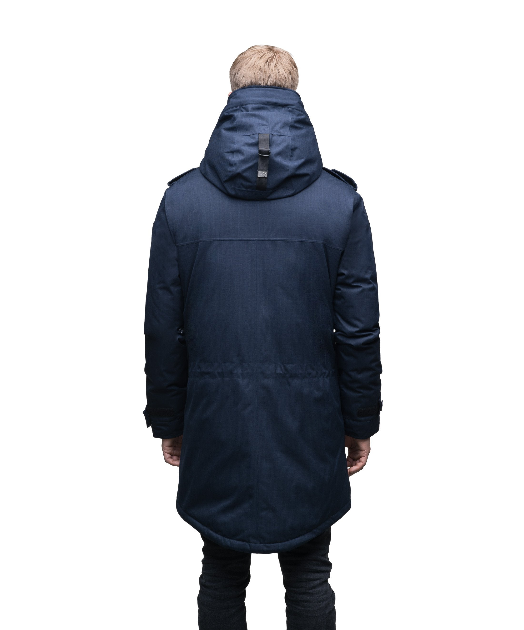 Men's down filled parka with faux button magnet closures and fur free hood with a fishtail hemline in CH Navy | color