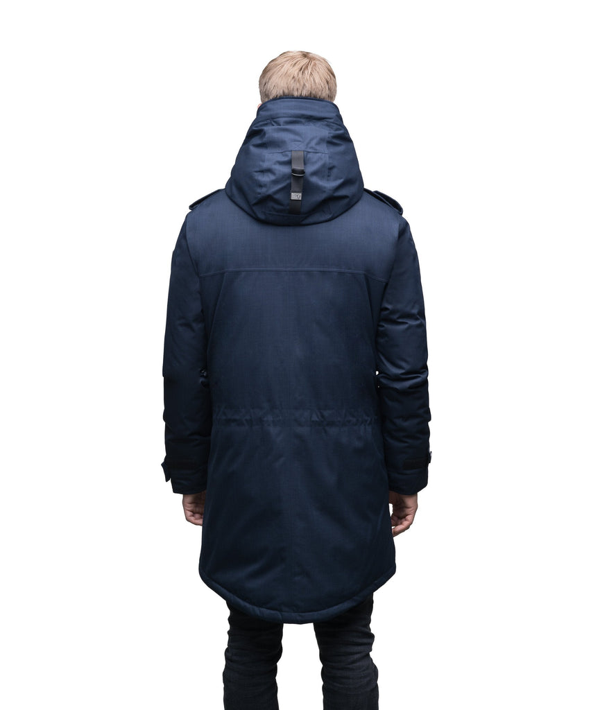 Men's down filled parka with faux button magnet closures and fur free hood with a fishtail hemline in CH Navy| color