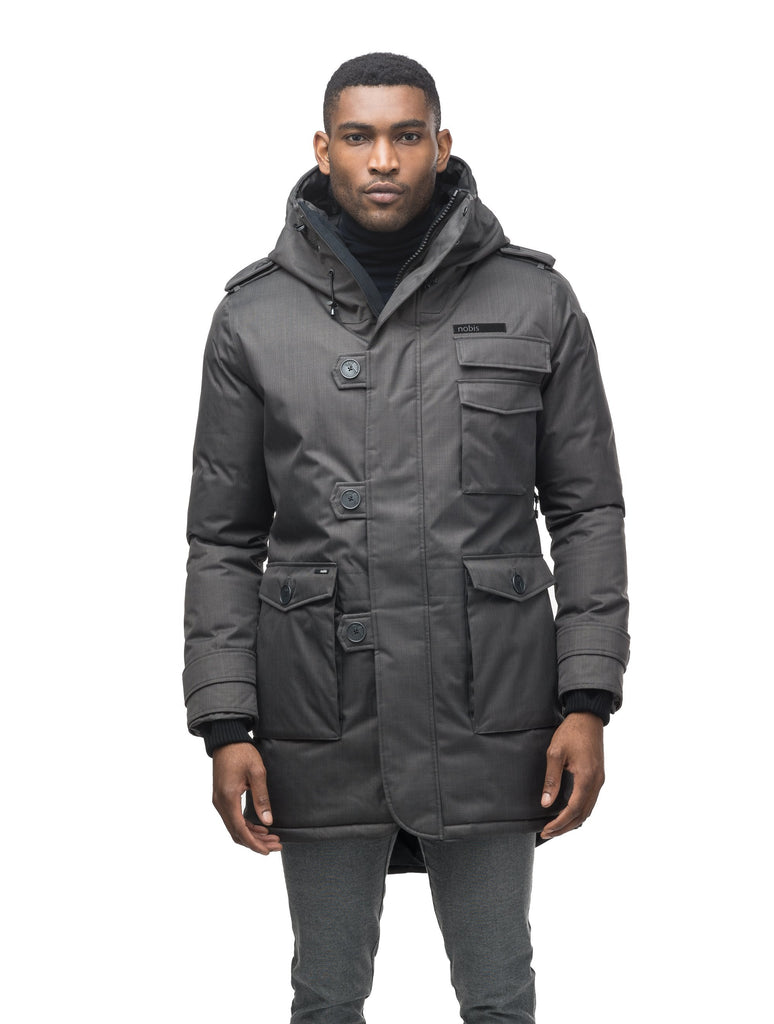 Men's down filled parka with faux button magnet closures and fur free hood with a fishtail hemline in Steel Grey| color