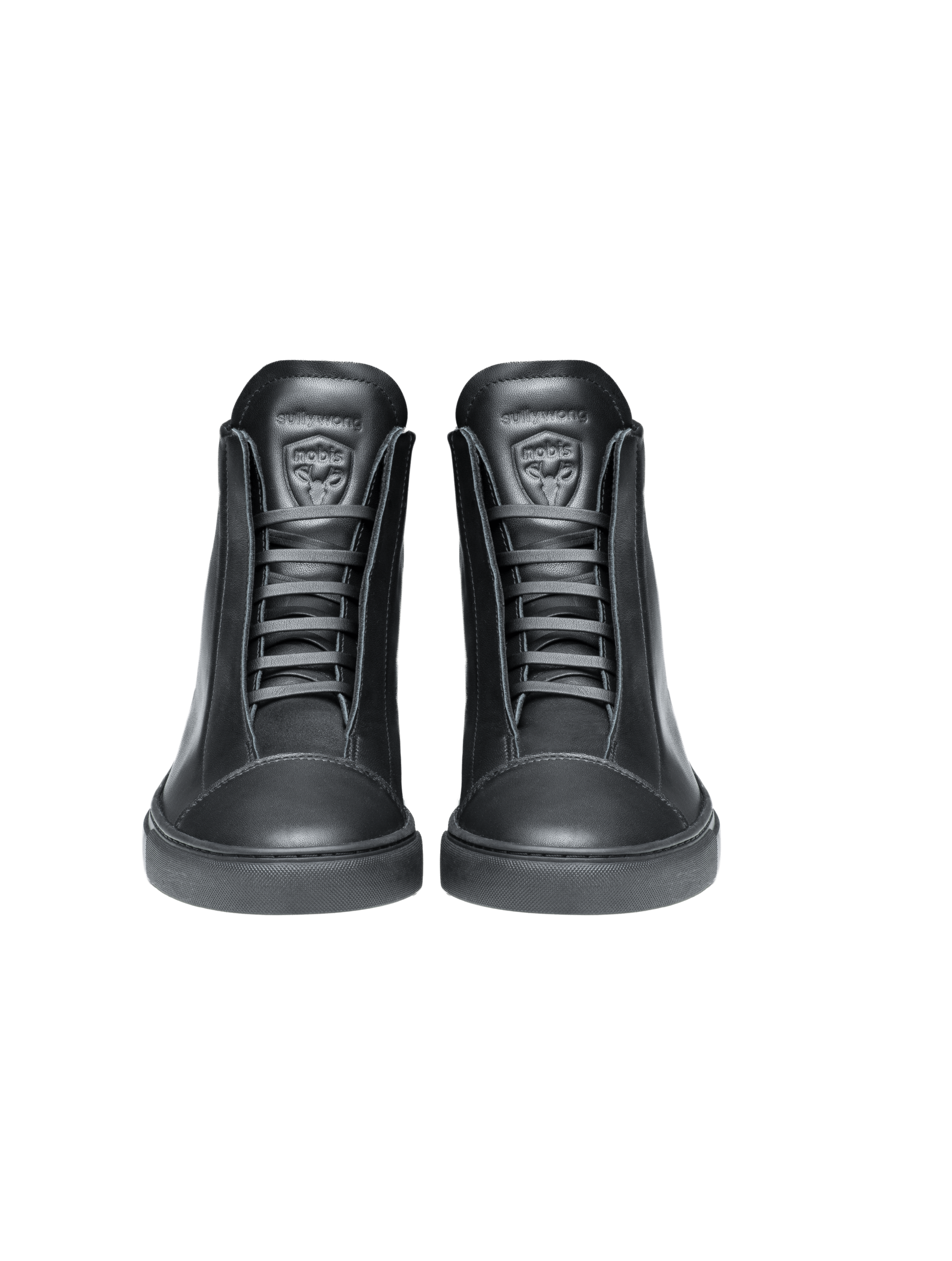 Unisex high top sneaker with Nobis crest embossed on the right side of the shoe in Black | color