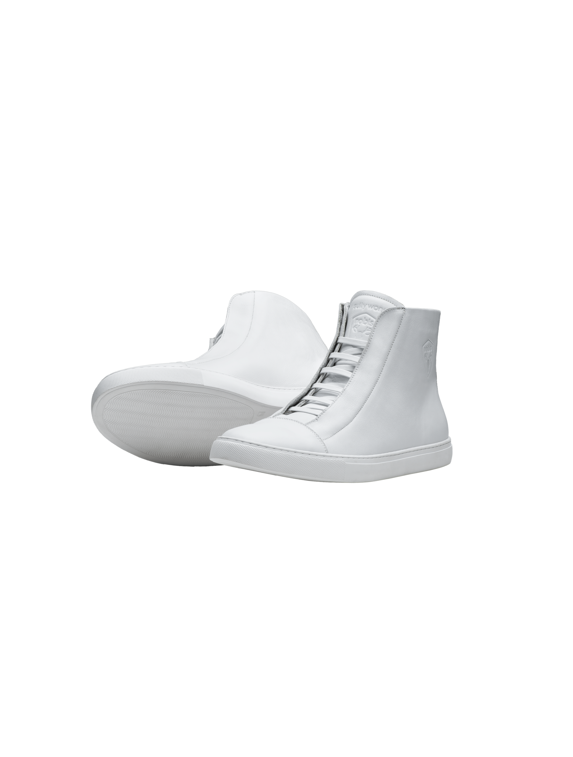 Unisex high top sneaker with Nobis crest embossed on the right side of the shoe in White | color