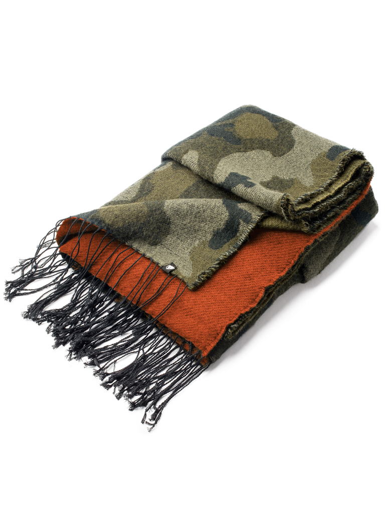 Over sized acrylic scarf that is just over six feet long just over two and a half feet wide, one side has a Camo print and the other side is orange with a dark green tassel trim| color