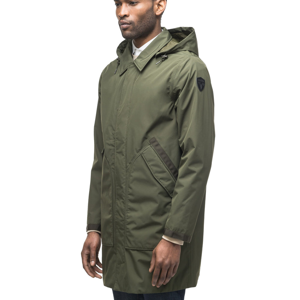 Men's knee length car coat in Fatigue | color
