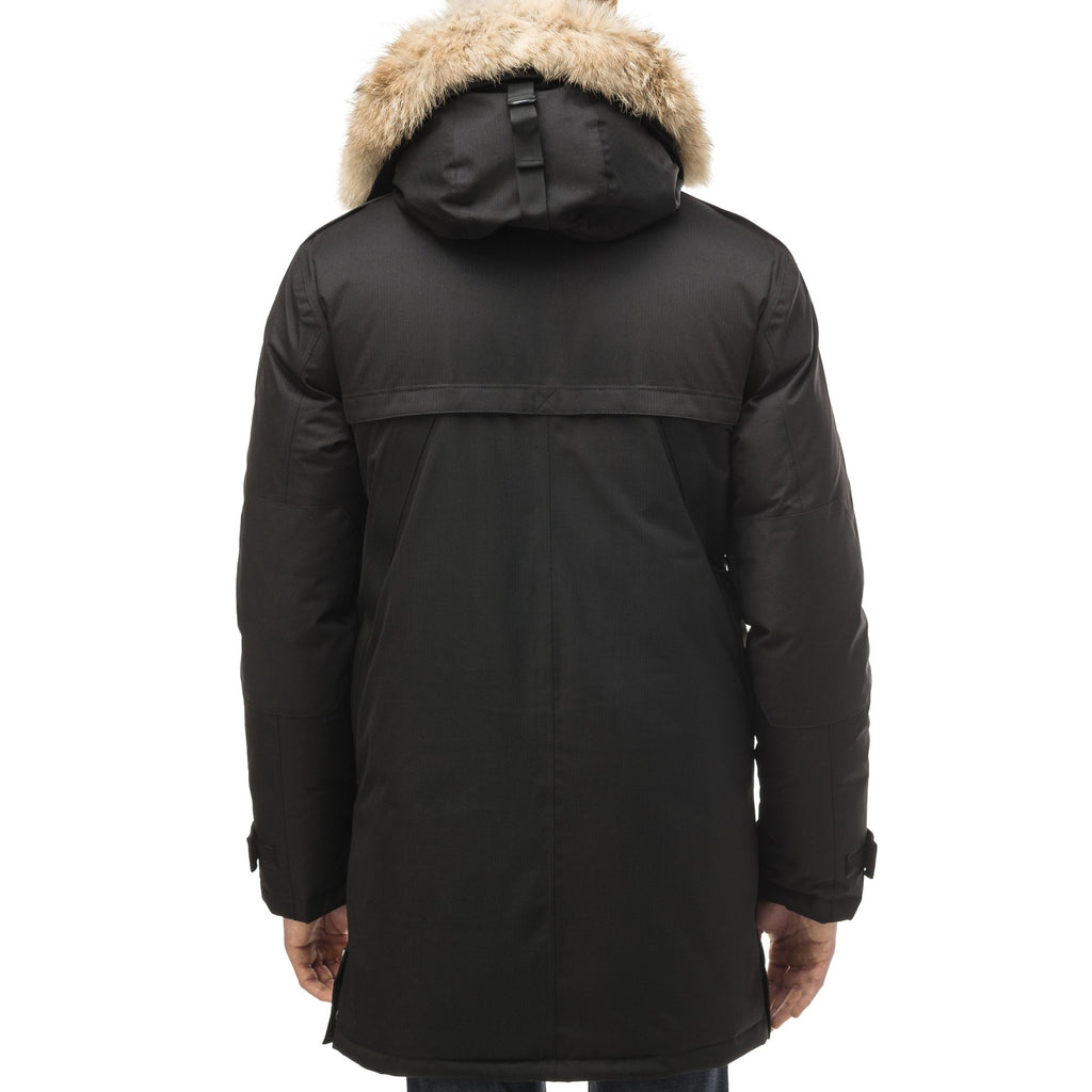 Men's Best Selling Parka the Yatesy is a down filled jacket with a zipper closure and magnetic placket in CH Black