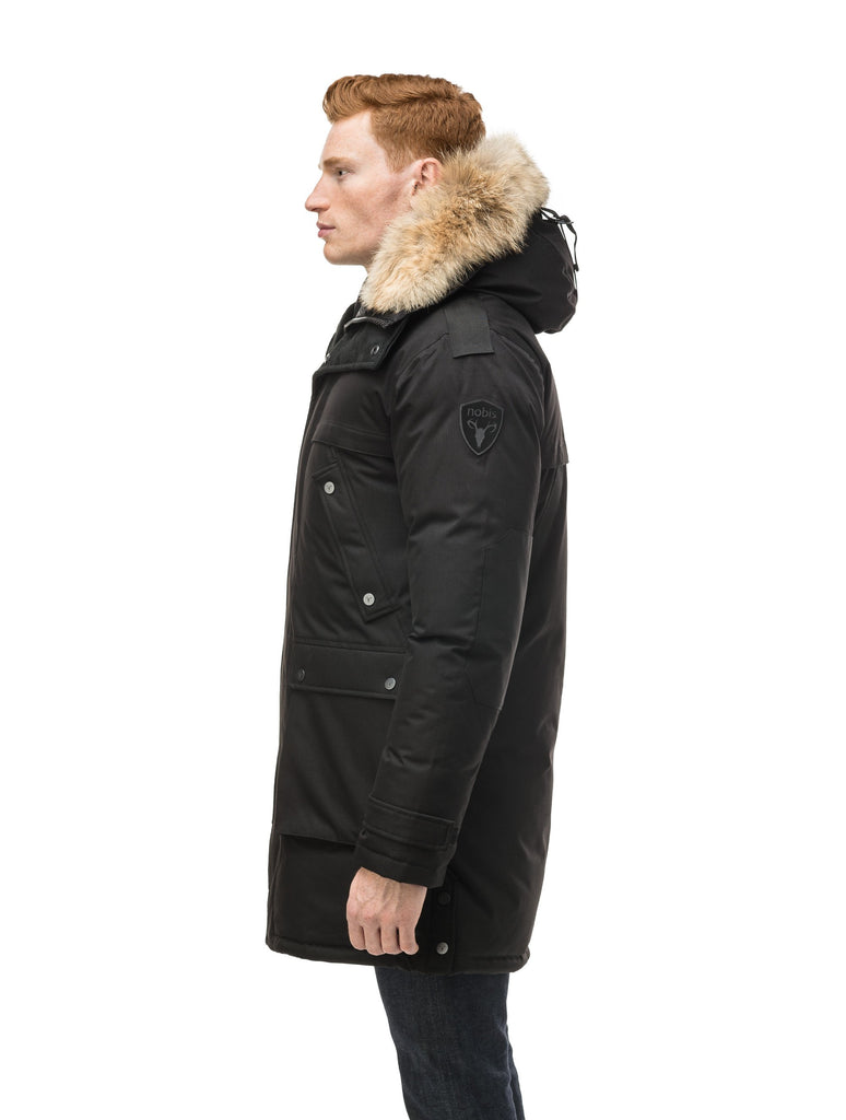 Men's Best Selling Parka the Yatesy is a down filled jacket with a zipper closure and magnetic placket in CH Black| color