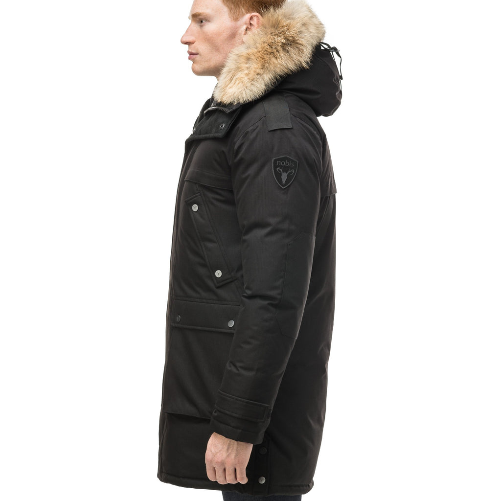 Men's Best Selling Parka the Yatesy is a down filled jacket with a zipper closure and magnetic placket in CH Black | color