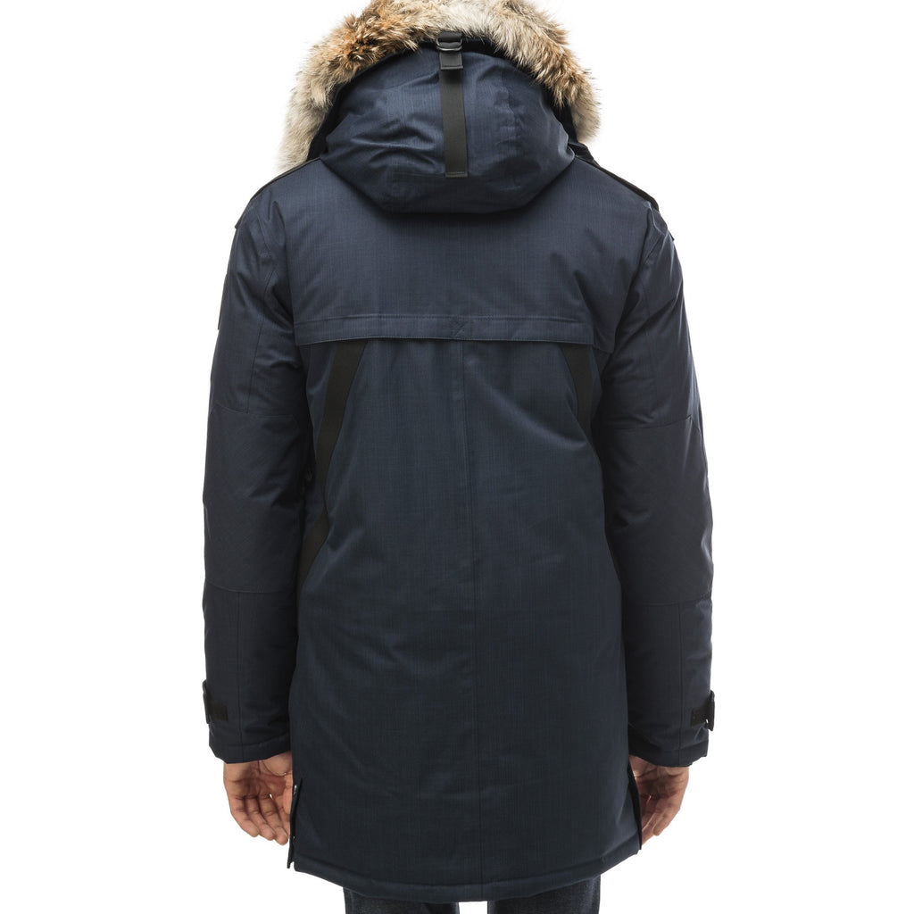 Men's Best Selling Parka the Yatesy is a down filled jacket with a zipper closure and magnetic placket in CH Navy