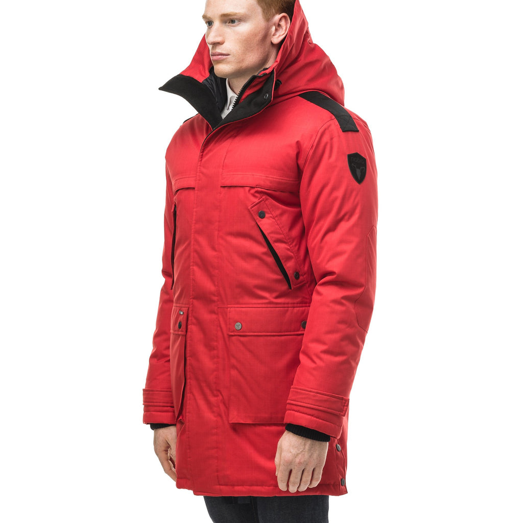 Men's Best Selling Parka the Yatesy is a down filled jacket with a zipper closure and magnetic placket in CH Red
