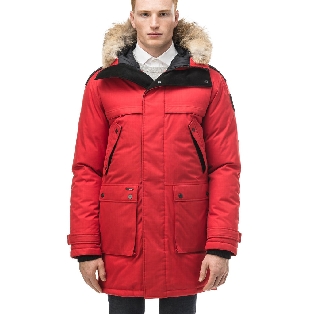 Men's Best Selling Parka the Yatesy is a down filled jacket with a zipper closure and magnetic placket in CH Red | color