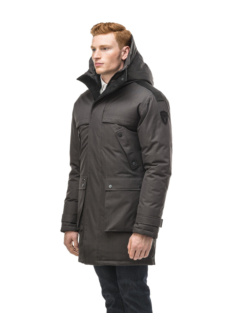 Men's Best Selling Parka the Yatesy is a down filled jacket with a zipper closure and magnetic placket in CH Steel Grey| color