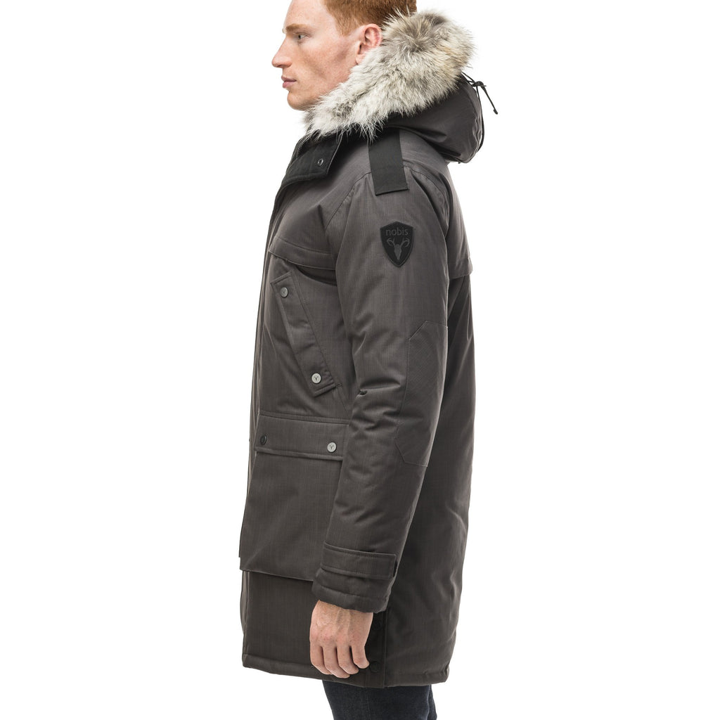 Men's Best Selling Parka the Yatesy is a down filled jacket with a zipper closure and magnetic placket in CH Steel Grey