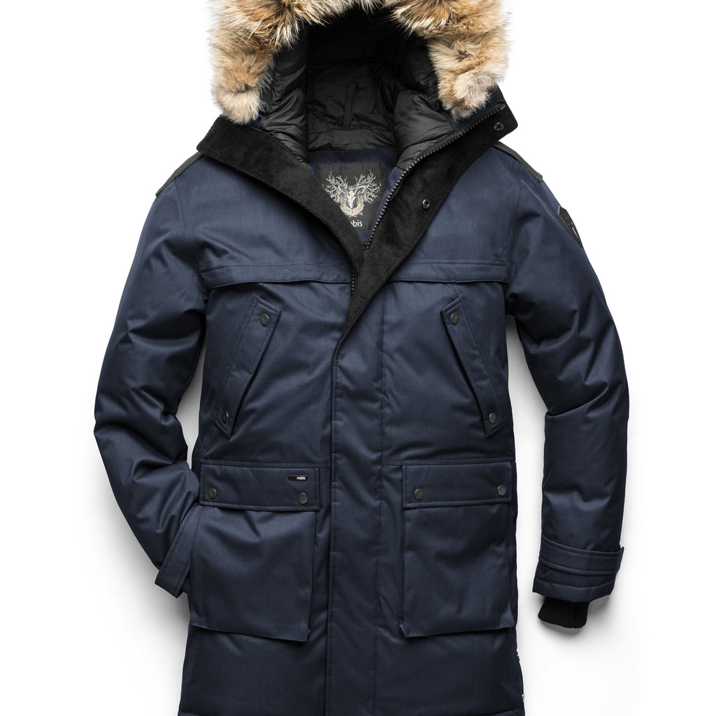 Men's Best Selling Parka the Yatesy is a down filled jacket with a zipper closure and magnetic placket in CH Navy | color