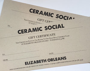 Gift Certificate to one hand-built ceramics class led by Elizabeth Orleans