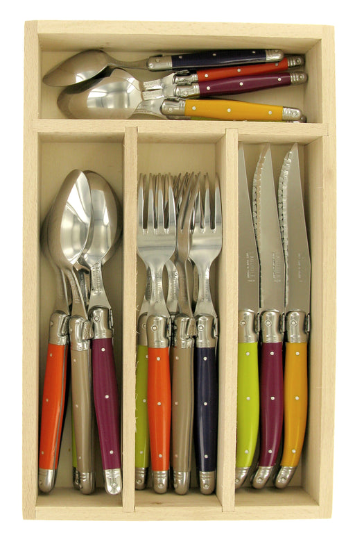 Wooden Box with Laguiole Cutlery Set 24 Pcs - Mirror Finish, Mixed