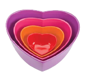 Zak! Heart Shaped Bowl (Set of 4), Tonal Pink
