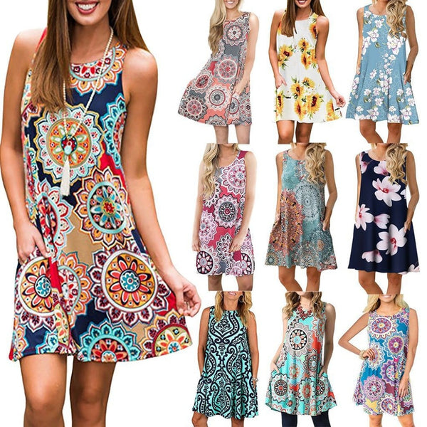 Boho Printed Casual Beach Dress