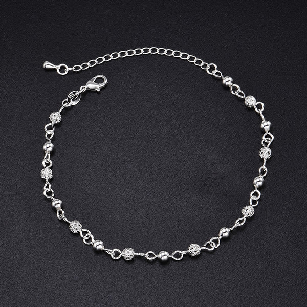 Silver Beads Ankle Chain