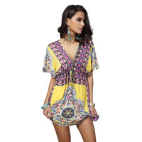 V-Neck Bohemian Front Tie Dress