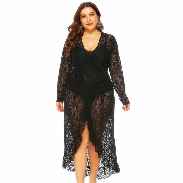 Voluptuous Black Lace Long Sleeve Cover Up