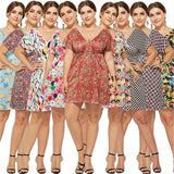 Voluptuous Printed V-Neck Dresses