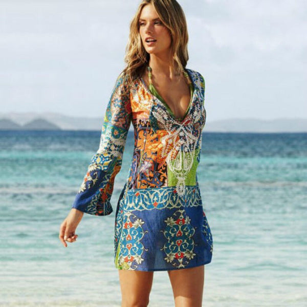 Multi Color Chiffon V-Neck Cover-up