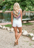 Floral V-neck Boho Tanks