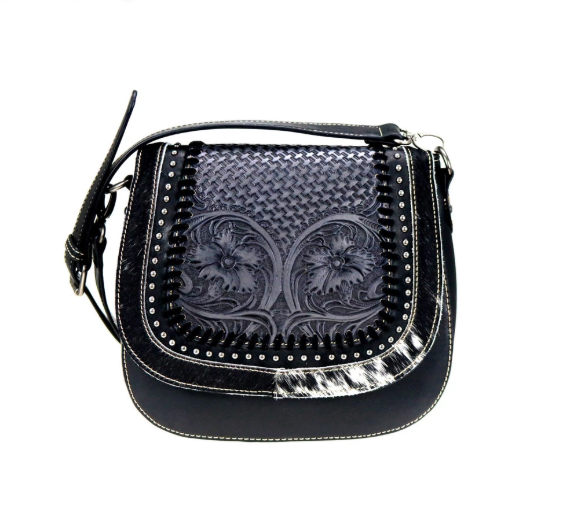 Montana West Leather Saddle Bag Black