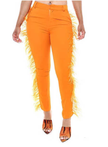 Tiana Feather Pant Orange