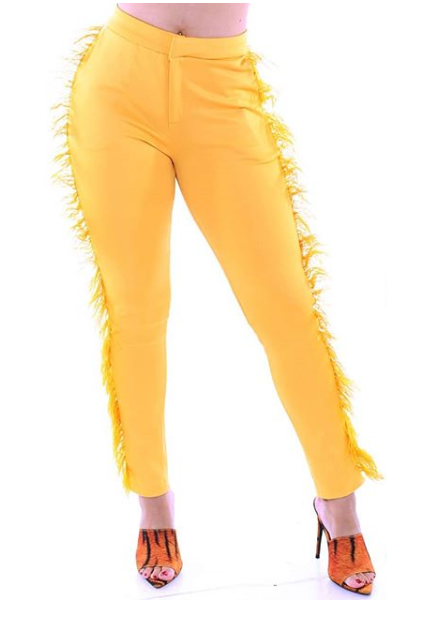 Tiana Feather Pant Yellow