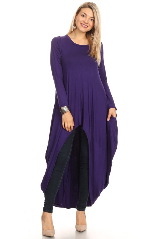 Long Sleeved High-Low Top Purple