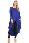 Long Sleeved High-Low Top Royal Blue