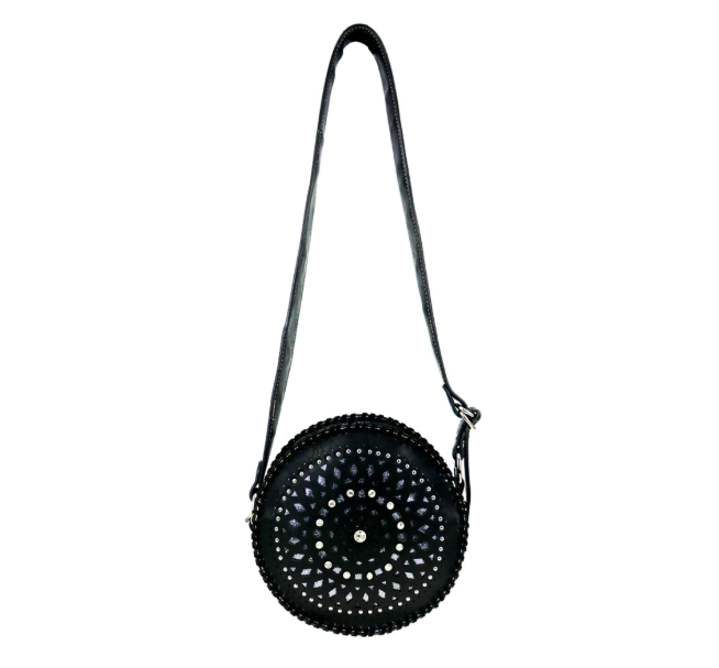 Montana West Circle Bling Crossbody Black