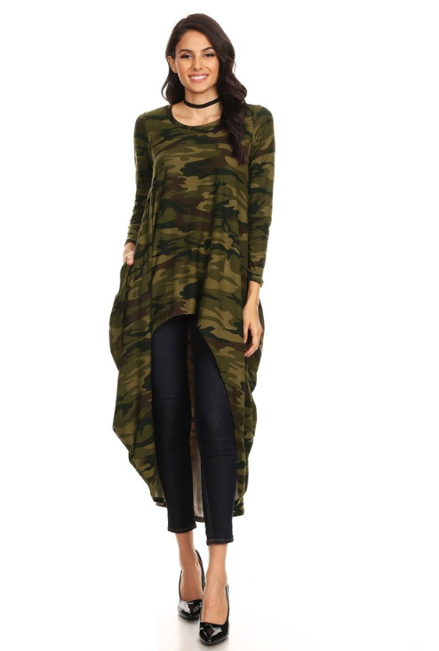 Long Sleeved High-Low Top Dark Camo