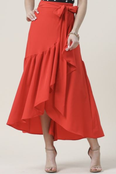 Lexi Wrap Skirt Red