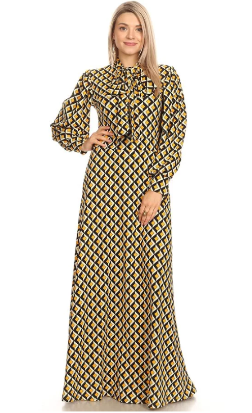 Mosaic Muse Dress Yellow/Black