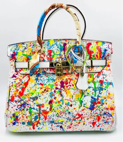 Custom Leather Bag Bright White Abstract 30 cm