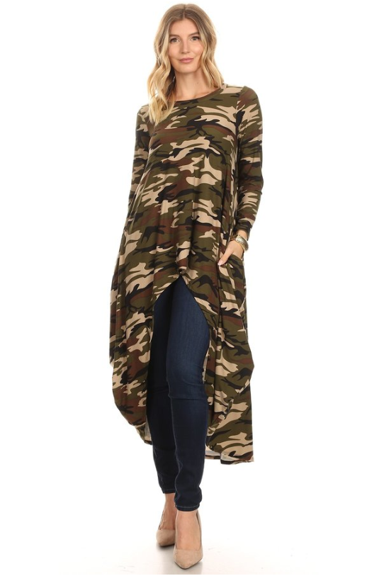 Long Sleeved High-Low Top Light Camo