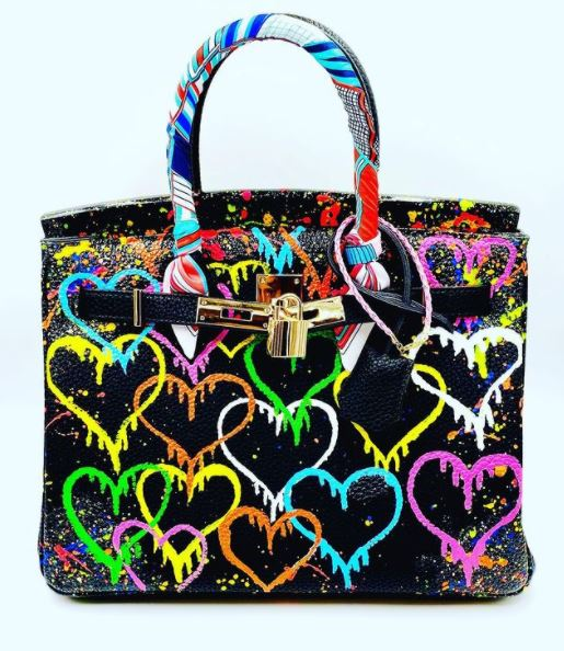 Custom Leather Bag Dripping Hearts Black