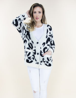 Erika Cardigan White Black