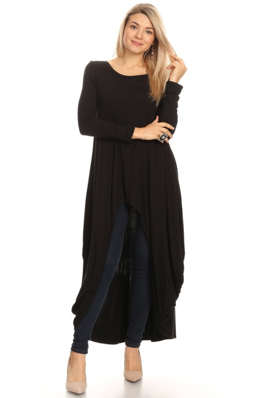 Long Sleeved High-Low Top Black