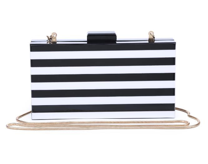 Margot Acrylic Clutch Black/White