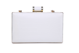 Firenze Croco Clutch White