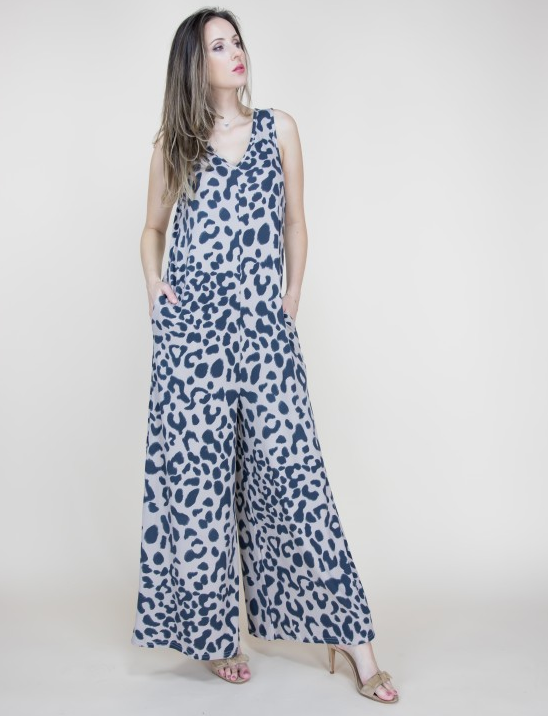 Arizona Leopard Khaki Jumpsuit