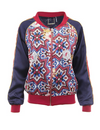 Fresco Reversible Print Bomber Red/Navy
