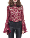 Burgundy Lace Bell Sleeve Bodysuit