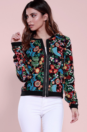 Frida Embroidered Bomber Multi