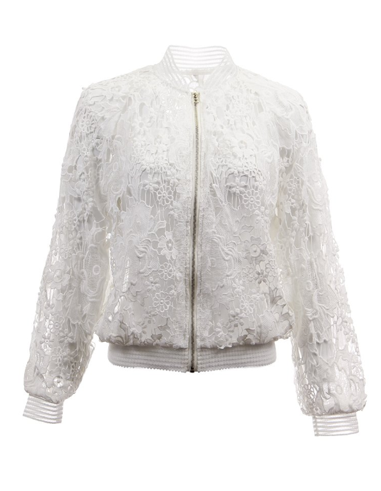 Lightweight Floral Lace Bomber White