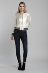 Faux Leather Bomber Jacket Light Gold