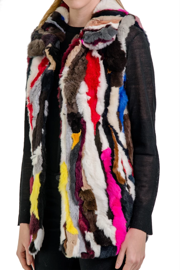 Multi Real Rabbit Fur Vest
