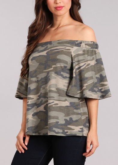 Camo Off The Shoulder Top